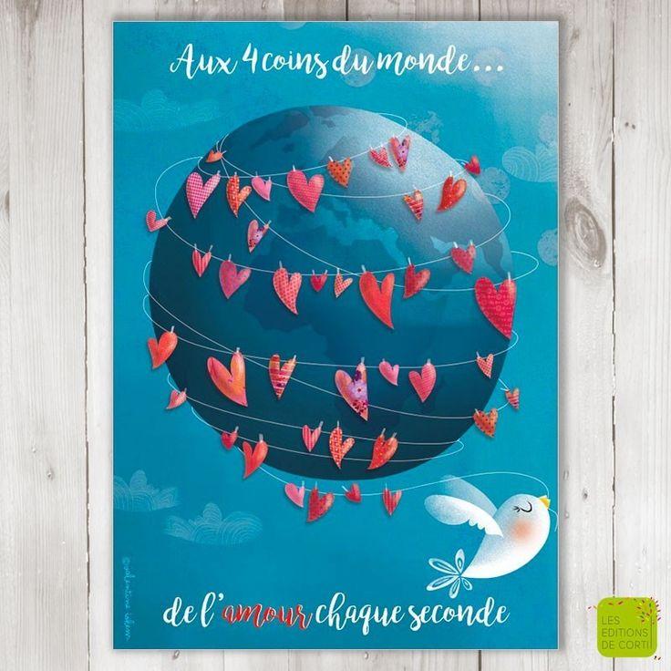 Aux quatre coins du monde, de l'amour chaque seconde - Carte de voeux illustrée par Valentine Iokem - www.editionsdecortil.com