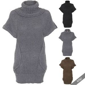 Womens Chunky Cable Knit Turtle Polo Neck Long Jumper Dress