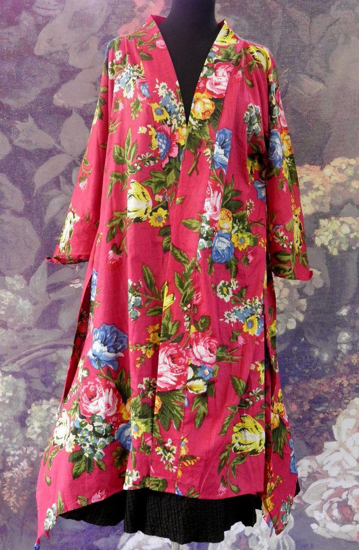 veste d 39 int rieur peignoir femme fuchsia fleurs en coton imprim shalimar autres mode par. Black Bedroom Furniture Sets. Home Design Ideas
