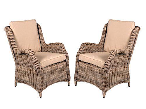 Winter Angebot Ambietehome 2er Set Polyrattan Sessel Oran beige grau inkl. Kissen