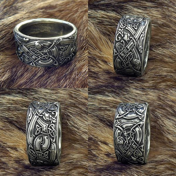 """Ring """"Celtic Dogs Celtic Wolves Sterling silver Wolf Ring. Ring with... ❤ liked on Polyvore featuring jewelry, rings, wolf jewelry, dog ring, celtic jewelry, sterling silver wolf ring and wolf ring"""