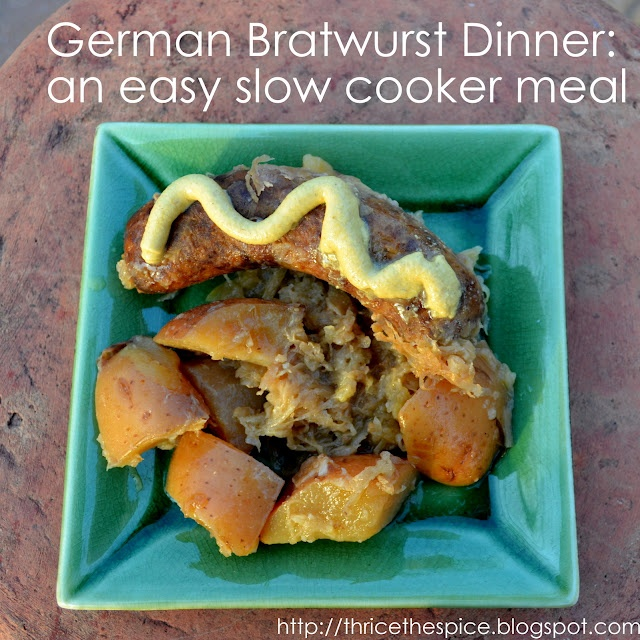 German Bratwurst Dinner in the Slow Cooker - this was seriously SO good!
