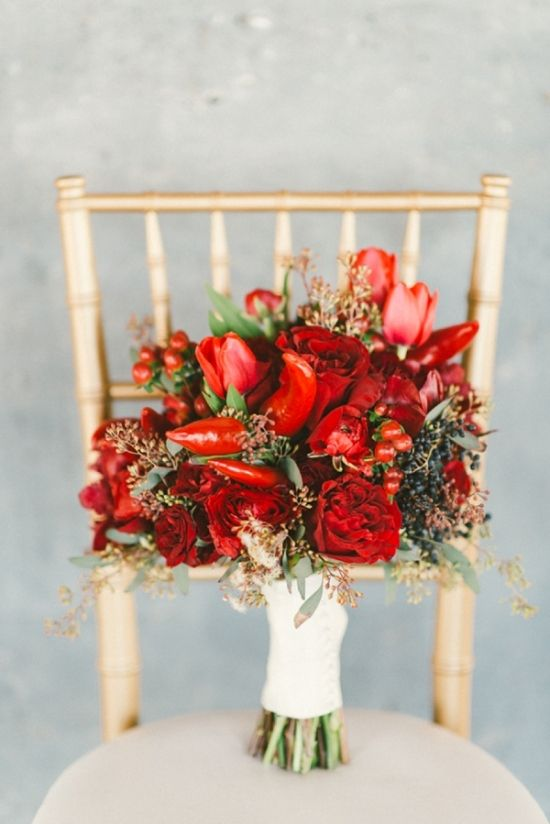 Spicy Love Wedding Inspiration - Chili Peppers in a Bouquet?