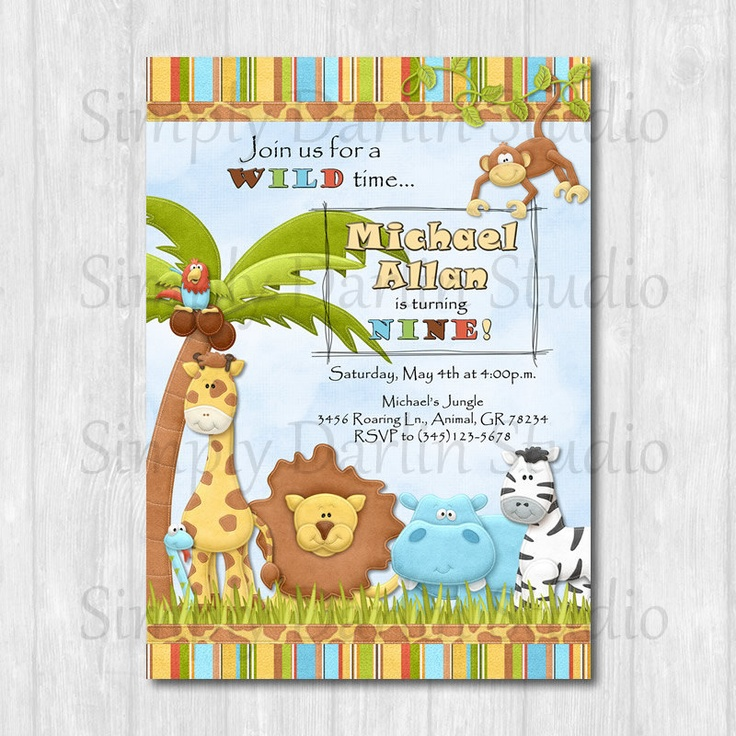 37 best animal themed 2nd bday party images on pinterest birthdays digital jungle zoo animals birthday party invitation or baby shower invite boy or girl giraffe lion diy you print stopboris Choice Image