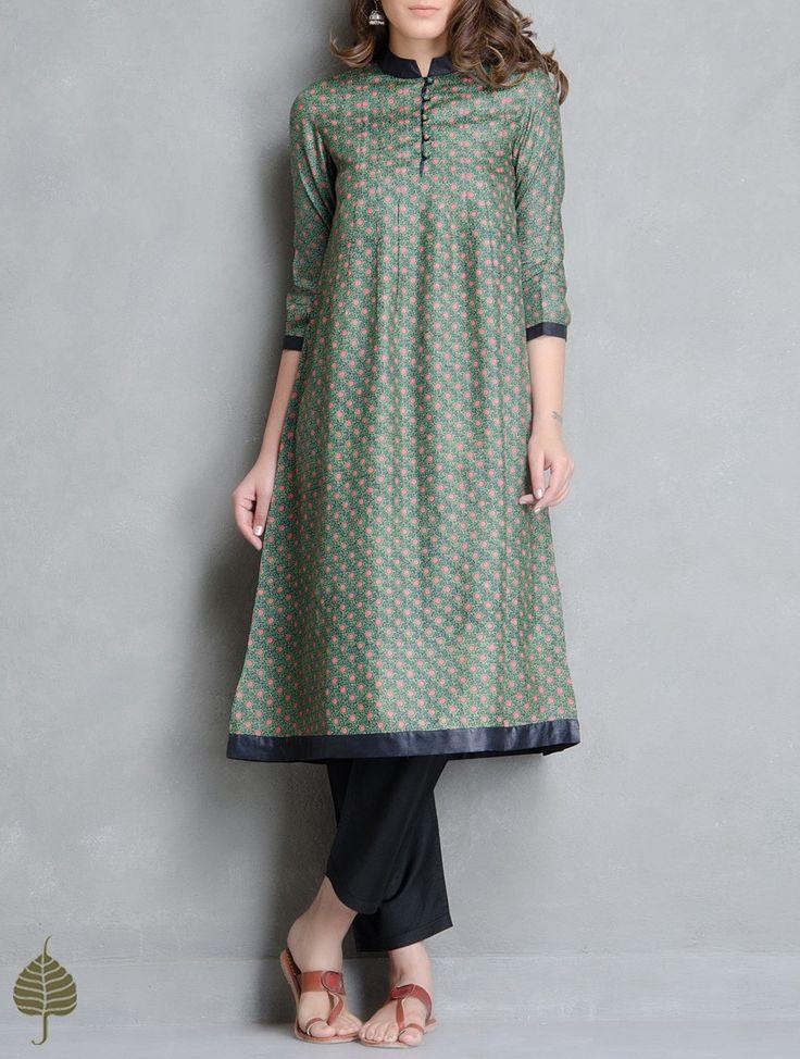 Buy Green Red Black Block Printed Tussar Kurta by Jaypore Silk Apparel Tunics & Kurtas Online at Jaypore.com