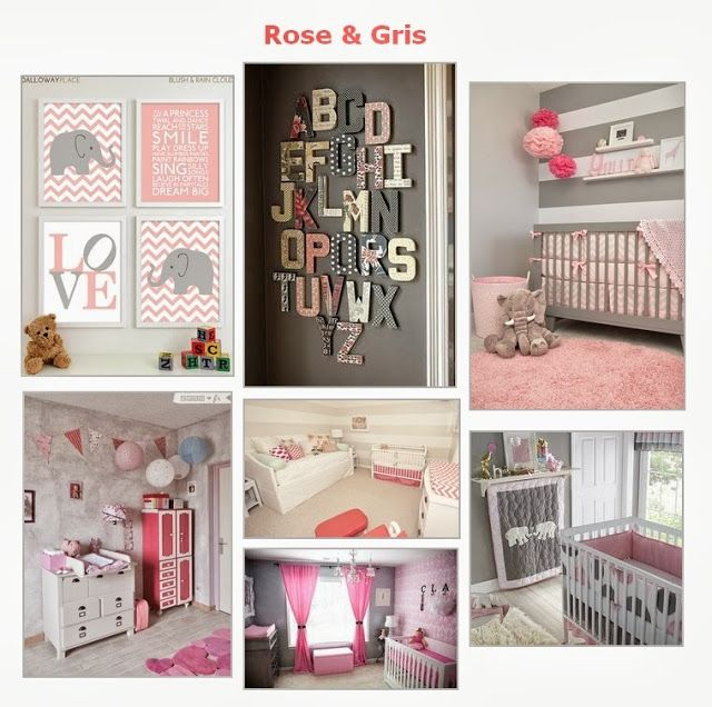 11 best images about chambre b b on pinterest green - Deco chambre bebe fille gris rose ...
