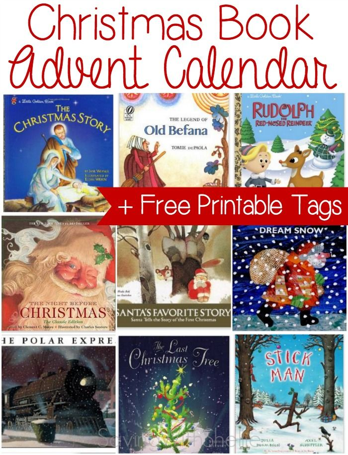 Countdown to Christmas with a Christmas Book Advent Calendar. Get free printable countdown tags and a HUGE list of book ideas.