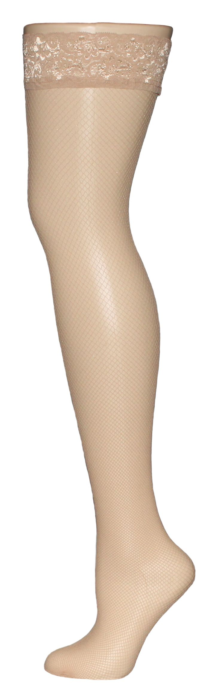 GIORGIA is our classic micro fishnet thigh highs. With this luxurious pair of hosiery, Giorgia will complement your party dress, work attire and lingerie set. GIORGIA micro fishnet features a comfortable laced band which will gently secure these thigh highs on your leg. Show the world that you're not boring by wearing GIORGIA. This pair of women's stocking is available in Black and Honey.  VienneMilano thigh high stockings do not require a garter belt.