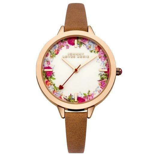 Johnny Loves Rosie Brown Strap Vintage Floral Midi Dial Watch
