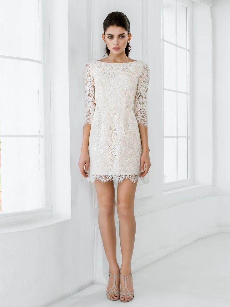 Свадебное простое короткое платье