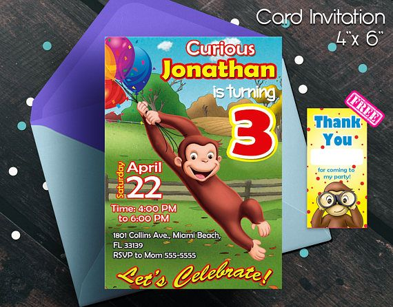 Curious George invitation Curious George Birthday Curious
