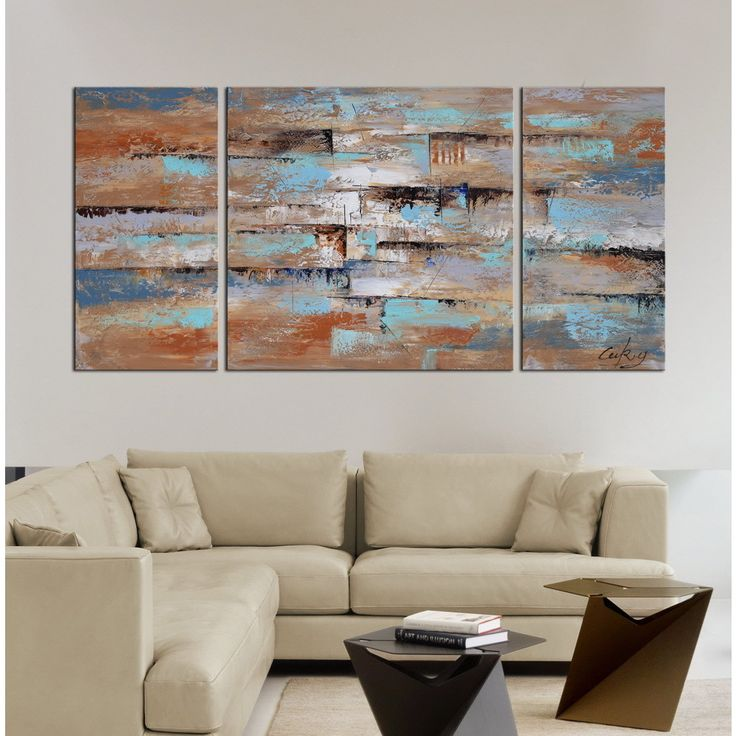 Hand painted abstract gallery wrapped oil on canvas set
