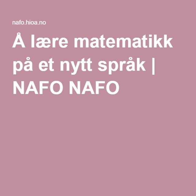 Å lære matematikk på et nytt språk | NAFO NAFO