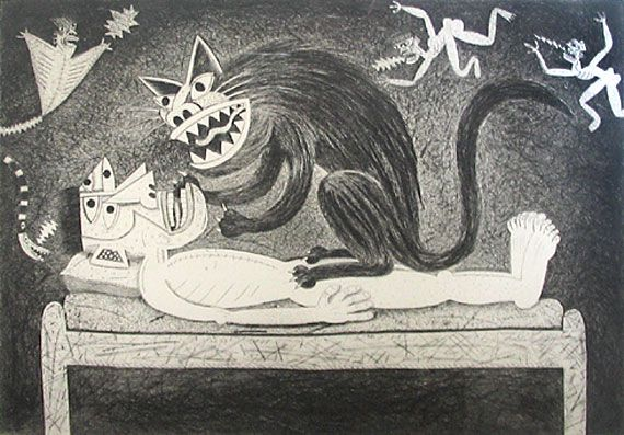 'Catnap' (1990) by South African artist Norman Catherine (b.1949). Drypoint etching, eition of 25, 40 x 54 cm. via Rose Korber Art