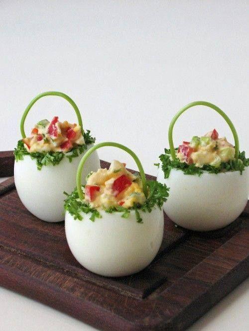 haşlanmış yumurtadan çiçek sepeti sunumu - Kadınlar Sitesi