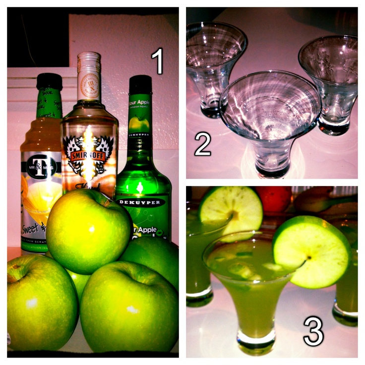 Carmel Apple Smirnoff + Apple Pucker + Sweet and Sour + Freshly crushed granny smith apples = Carmel  appletini Mmmmm :)