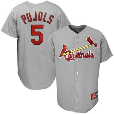 Majestic St Louis Cardinals #5 Albert Pujols Grey Baseball Jersey