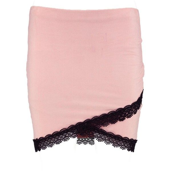 Boohoo Willow Lace Trim Wrap Suedette Mini Skirt ($12) ❤ liked on Polyvore featuring skirts, mini skirts, maxi skirt, short pleated skirt, short skirts, short maxi skirt and pleated midi skirts