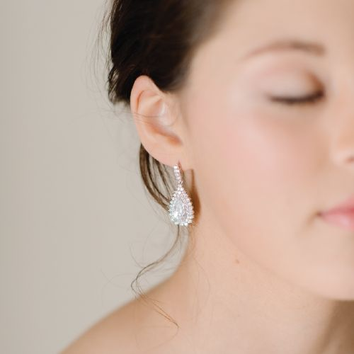 Crystal Cubic Zirconia Bridal Earrings by Pearl & Ivory ®  - Find more inspiring wedding earrings and bridal jewelry from our collection www.pearlandivory.com/bridal-jewelry.html. Photography by Yolande Marx #Pearl&Ivory #CubicZirconia #Crystal #DropEarrings #Bridal #Earrings #WeddingJewelry