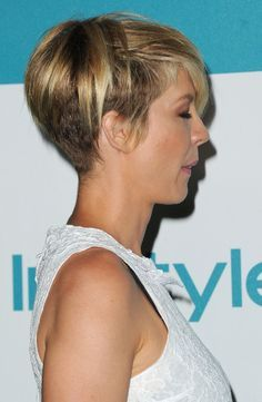 Jenna Elfman's has an undercut technique used on it. When she wears it on her regular part, you can't tell it's short underneath. It's a good technique for those who have really thick hair but want a pixi cut   best stuff