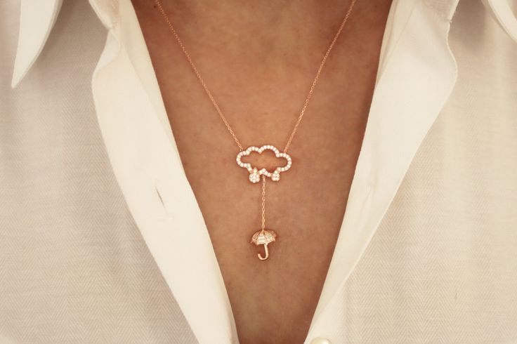 Cloud and Umbrella Necklace, Christmas Gift, Womens Necklace, Rose plated 925 Silver Necklace, Jewelry, Gift For Her, Layered Necklace by JuniperandEloise on Etsy