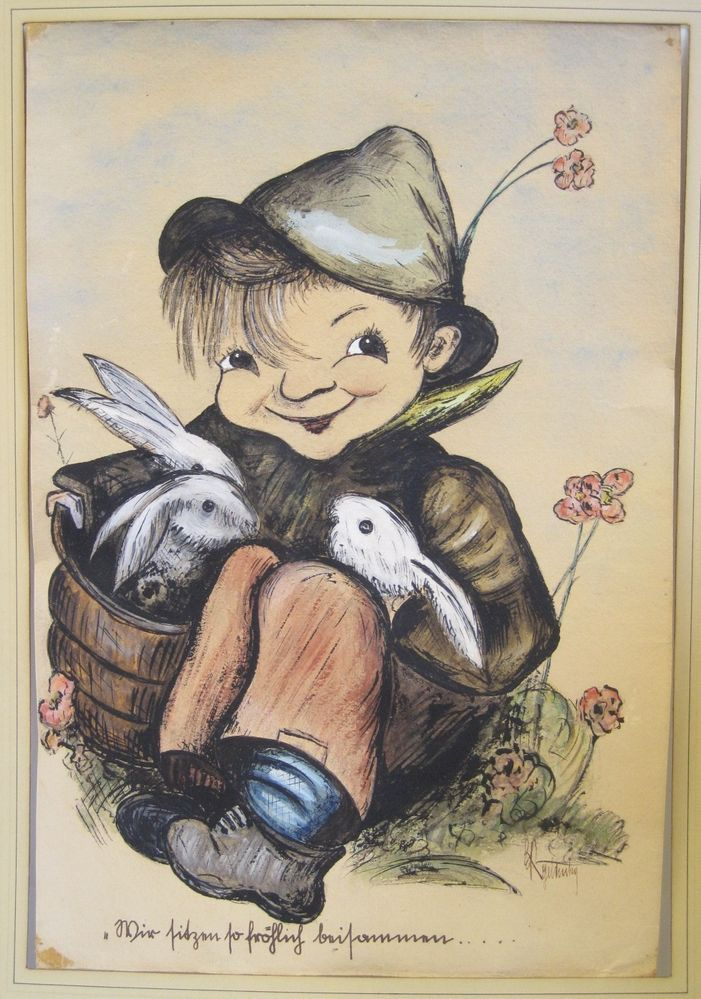 VINTAGE GERMAN SIGNED WATERCOLOR BOY WITH THREE RABBITS