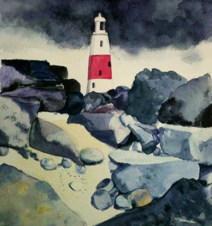 Light house Cornish coast  Watercolour