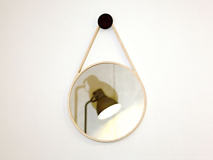 Minimalistic interior hanging mirror. Handmade in Slovakia. Made out of one piece of wood.