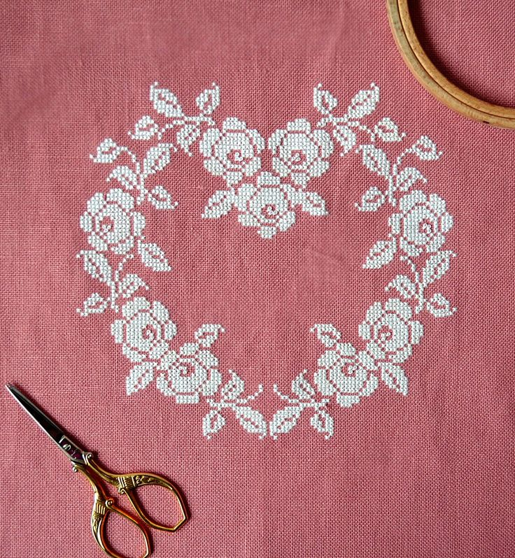 Sneak Peek At My New Pattern ~ French cross stitch heart ~ white silk thread on rose colored linen ~ shabby chic ~ pretty cross stitch