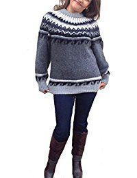 Alpacaandmore Grauer Damen Rundhals Pullover Strickpullover Norweger Stil Alpakawolle