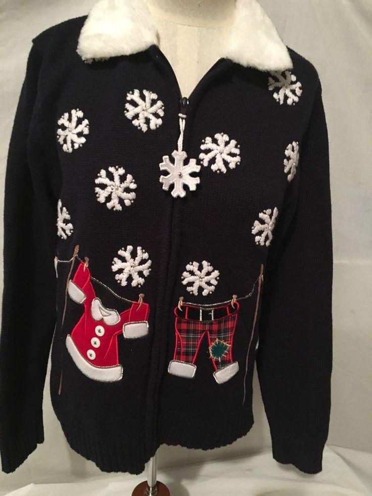 ugly christmas blue stocking snowflakes sweater womens Crystal Kobe Sz M #CrystalKobe #Collared #Christmas