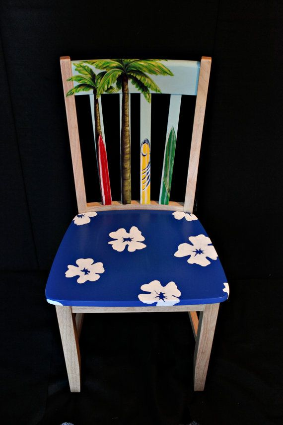 Hand painted Hawaiian print surfboard chair by LaraEveDesigns, $299.00