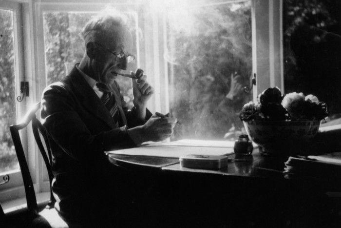 Oliver Gotch composing music, c1970