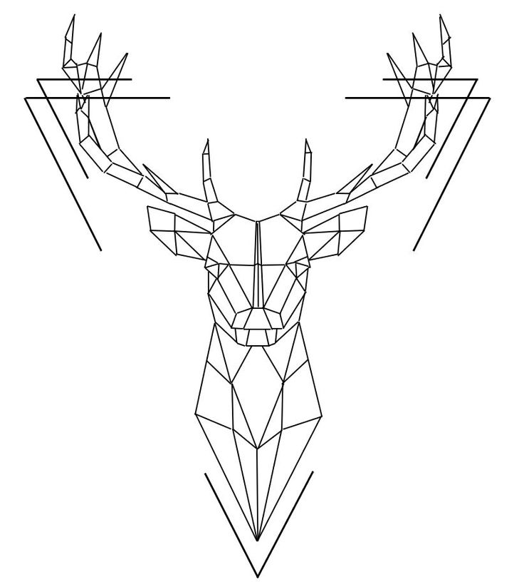 Geometric Deer Head Wall Sticker Geometry Animal Series