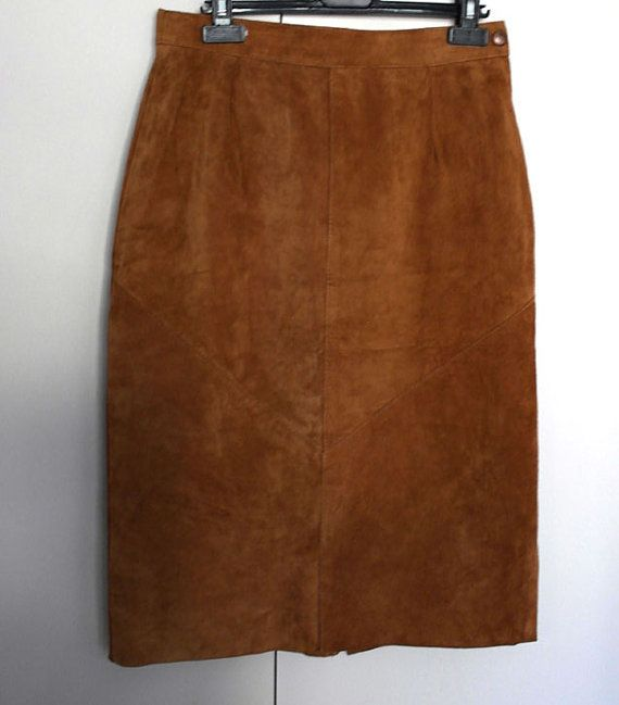 Lovely Suede Tan midi skirt size M by SunDazeVintage on Etsy, €11.99