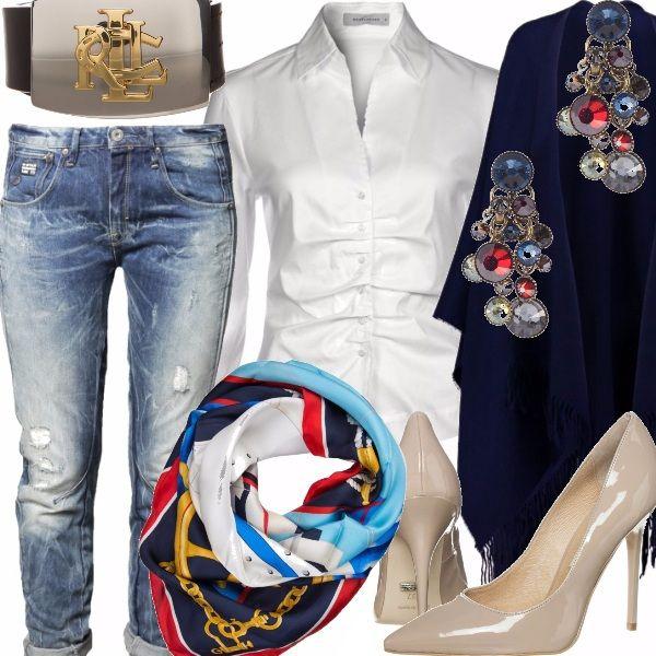 """Tra le tendenze più cool della Primavera Estate c'è sicuramente il Jeans.  L'intramontabile tessuto denim trattato, invecchiato; un capo giusto  per le più giovani e per chi ha superato gli """"anta"""".  Togliamo  i capi scuri della scorsa stagione.  Cosa c'è di meglio per ringiovanire il proprio stile con un jeans, come questo, indossato con una  classica camicia bianca  con effetto groffato - che nasconde i chili acquistati in inverno?  Un foulard al collo;  ma  potrebbe essere usato anche ben…"""