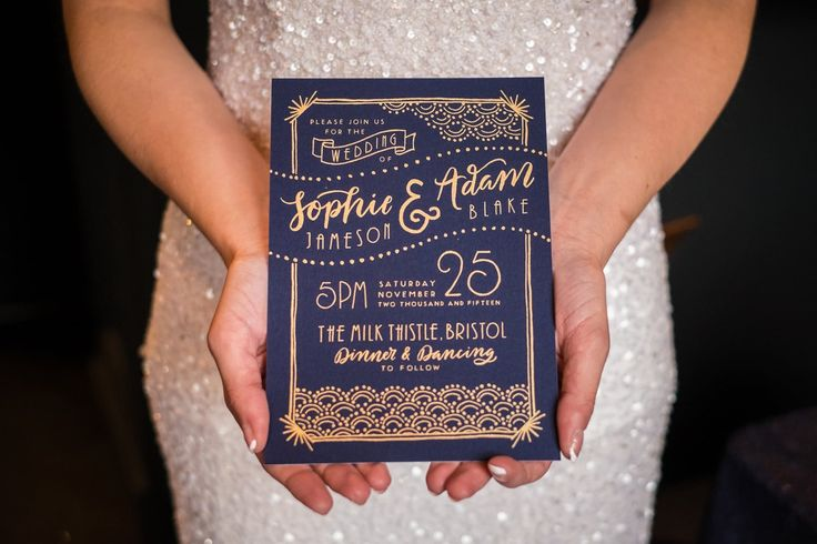navy and gold wedding invite                                                                                                                                                     More