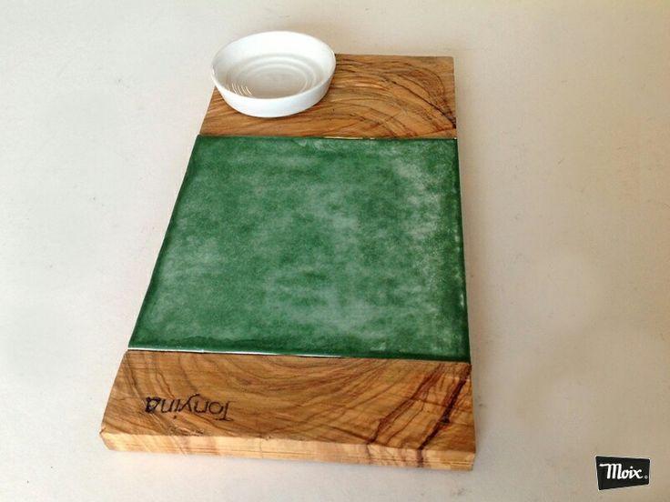 #plato de #madera de olivo y #porcelanico para #bartonyna. #valencia