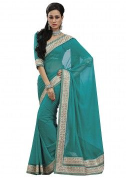 Beautiful traditional saree in a chiffon fabric with adorn with Gota Patti Border Work