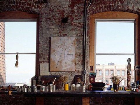 Google Image Result for http://static.girliegirlarmy.com/wp-content/uploads/2012/04/brooklyn-loft-4-480x360.jpg: Artist Loft, Interior, Artists, Inspiration, Brick Wall, Exposed Brick, Design