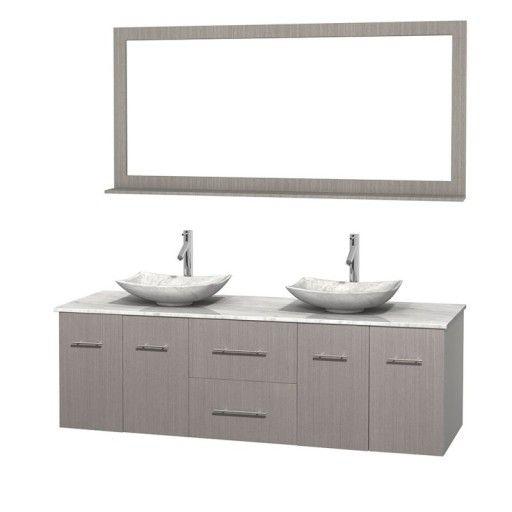 "Wyndham Collection Centra 72"" Double Bathroom Vanity Set for Vessel Sinks - Gray Oak WC-WHE009-72-DBL-VAN-GRO"