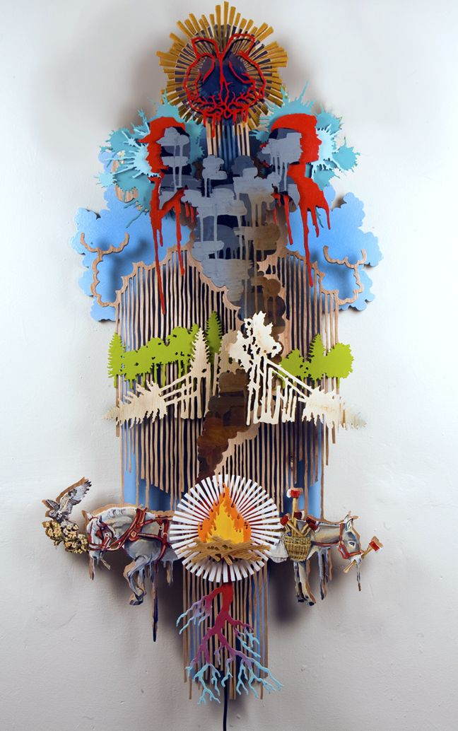 Hilary White, Through Wilderness: REIN, RAIN, REIGN Mixed media sculpture with rotating motor. Oil and Acrylic paints. Wood and plastic.