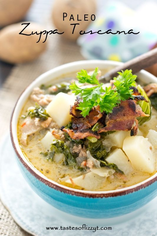 Paleo Zuppa Toscana >> by Tastes of Lizzy T's. Paleo Zuppa Toscana is a rich soup filled with potatoes, kale, Italian sausage and bacon. Your slow cooker makes this dairy free recipe easy to make.