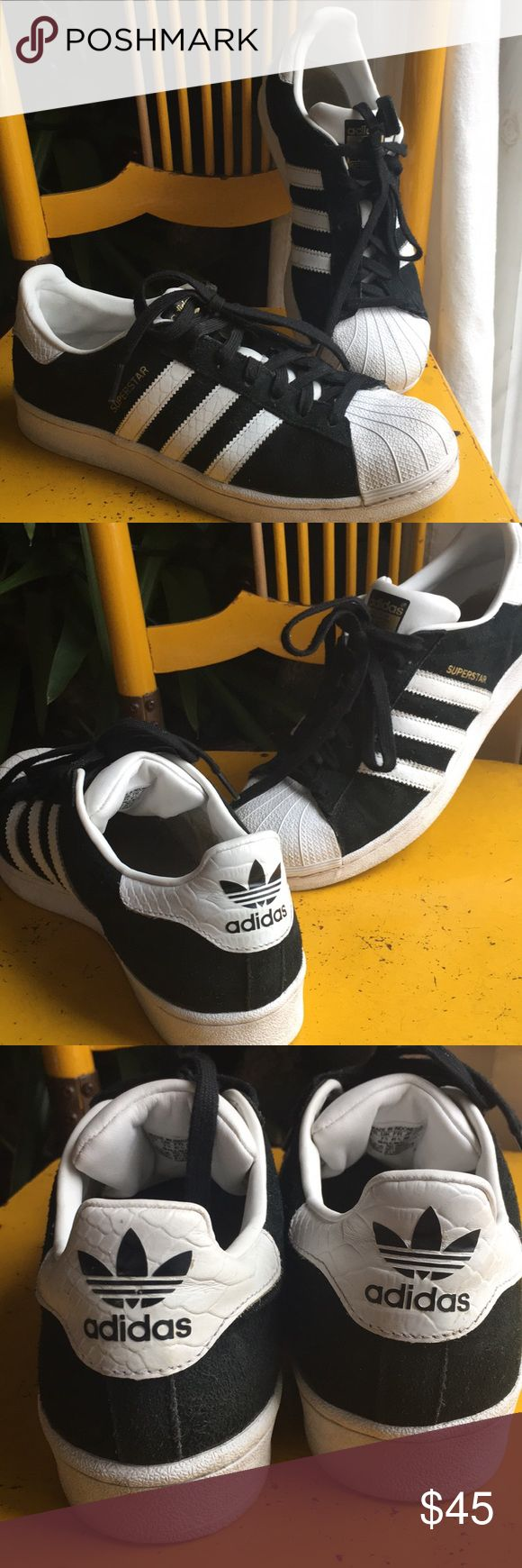 EUC Adidas Superstars - suede Men's size 8 - these were very gently worn - only inside shows any wear and new inserts could go in. They are otherwise pristine - black suede with gold lettering. Perfect skate shoe! adidas Shoes Sneakers