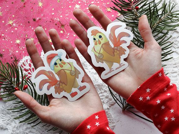 🔥 2017 - The Year of the Fire Rooster 🔥 Sticker set of 2 cute roosters. Chinese New Year zodiac sign. Vinyl stickers.  Great Christmas and New Year gift.  Rooster size - approx. 7.3x6.7 cm / 2.87x2.64 inches Rooster in the hat size - approx. 7.7x6.7 cm / 3.03x2.64 inches   Made with love and a little bit of magic <3  P.S. After purchasing our stickers get a thank you note from us to your email with 15% OFF for next order.