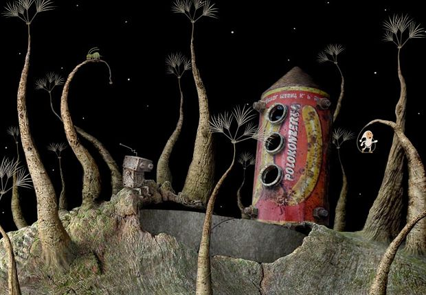 """Samorost 2 - Samorost2, the sequel to Samorost1, is a """"point-and-click"""" adventure puzzle game. A little space gnome travels to a far-off perilous planet to rescue his dog from an alien abduction and together they travels back home through another adventures."""