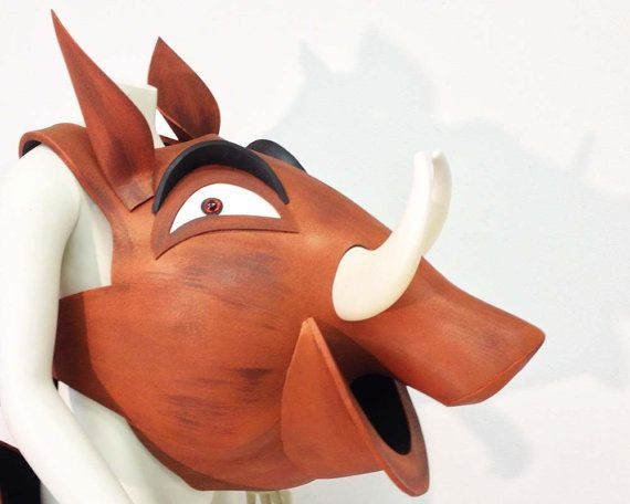 Pumba the Warthog costume mask. For children aged 10 and above. Ready to Ship, buy now.