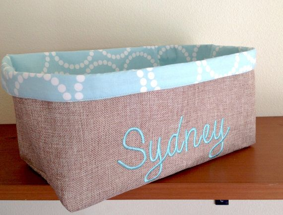 Personalized  Organization Bin Childs room by JennyGirlDesigns