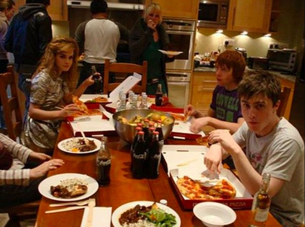 """Because whether they're just hanging out, chatting and eating pizza… 