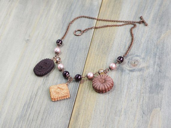 Cookie necklace, Mini food necklace, Cookies jewelry, Realistic biscuit, Mini food jewelry, lolita necklace, Kawaii food necklace Cute charm